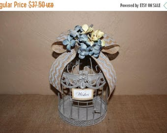 ON SALE Wedding Birdcage Cardholder / Gray Chevron Burlap Wedding Birdcage / Wedding Cardholder