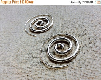 20% off SUMMER SALE White Indian Spiral Earrings, Tribal Silver Spiral Earrings, Boho Spiral Earrings, Silver Gypsy Tribal Spiral Hoop