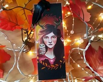 The spirit of autumn - illustrated, laminated bookmark handmade