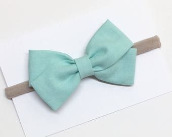 Baby Bow Headband - Light Aqua - Bow Headbands - Also available on clip