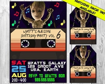 Baby Groot Birthday Party Invitation, Groot Invitation, Guardians of the Galaxy Birthday Invitations, Baby Groot Invitations