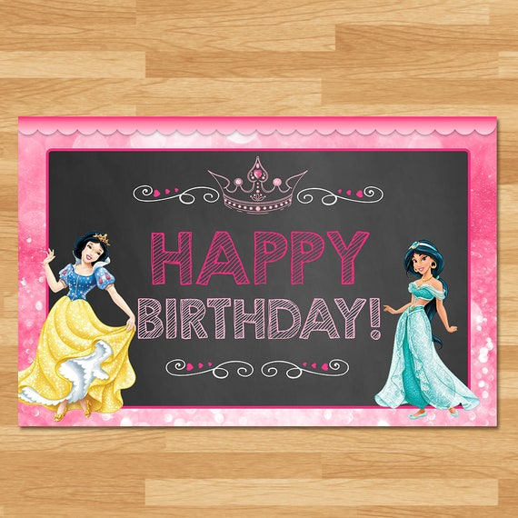 Disney Princess Placemats Instant Download - Chalkboard - Princess Place Setting Mat - Disney Princess Birthday Party - Princess Printables