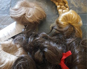 Beautiful Vintage Mix of 4 Doll Wigs