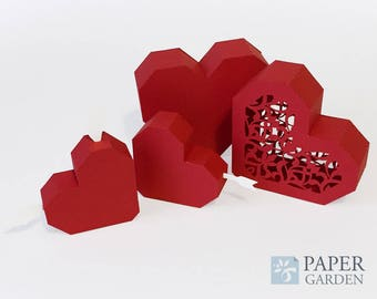 Papercraft Template 3D hearts, Instant Download, SVG, PDF, DIY, Valentine's Day