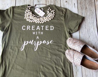 Christian Shirt|Women's Jesus Shirt|Christian T-Shirt|Cute Christian Shirt|EllyandGrace|Christian Shirts|Created with a purpose