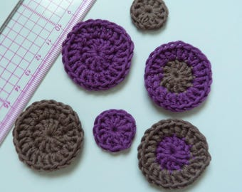 Set of 6 appliques crochet your purple and taupe