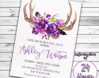 Antler Bridal Shower Invitation, Purple Bridal Shower Invitation, Boho Bridal Shower, Floral Bridal Shower, Tribal, Lavender, Deer, Feather