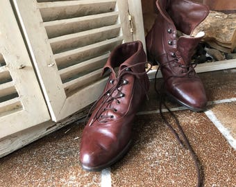 Vintage, 80s, lace up ankle boots, brown leather, laces