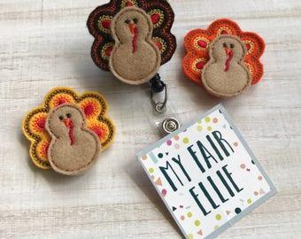 Turkey Badge Reel A Thanksgiving Badge Reel - Thanksgiving Badge - Fall Feast Badge Reel - Fall Badge Reel - Interchangeable Badge Reel