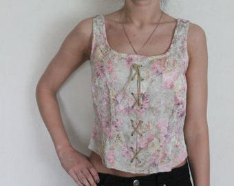 Women Top Floral Tapestry Crop Top Beige Pastel Sleeveless Blouse Pink Flower Small Size