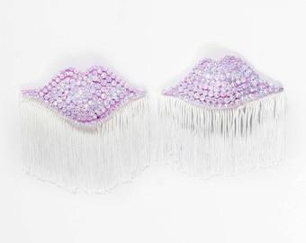 Light Purple Lips Pasties, Light Purple Fringe Pasties, Light Purple Burlesque Costume, Purple Lips Nipple Covers, Rhinestone Pasties