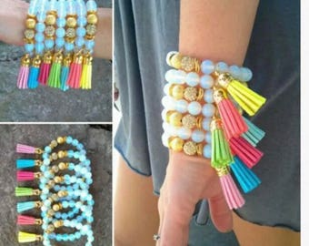 white opal, lokai bracelet, shambala bracelet, stacked bracelet, tassel bracelet