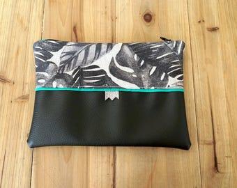 Black Green beige Palm clutch