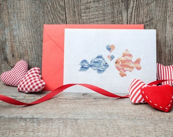 Fishes in Love cross stitch pattern Valentine card cross stitch cople Fishes cross stitch Easy cross stitch Cute cross stitch chart  111