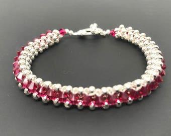 Swarovski Crystal Bracelet, Swarovski Bracelet, crystal bracelet, silver bracelet, beaded bracelet, woven bracelet, ruby bracelet