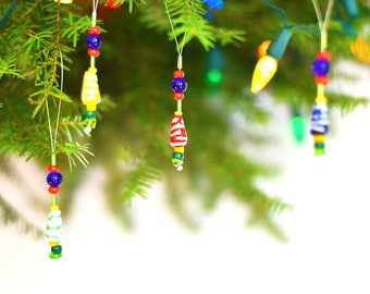 Beaded Christmas Ornaments - Small Christmas Ornaments - Xmas Tree Decorations - Christmas Ornament Set - Holiday Tree Ornaments - Xmas
