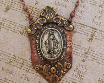 Religious medal, Soldered Bezel Necklace, Copper, Resin, brass stampings, rhinestones, Copper bead necklace,  SB3