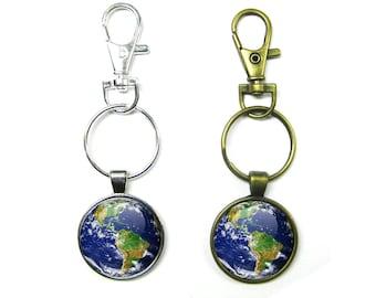 Earth Keychain, Planet Earth Key Chain, Mother Nature, Globe Keychain, Earth Day Key Chain