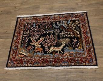 Fine Kork Wool Hand Knotted Animal Kashan Persian Rug Oriental Area Carpet 3X3ʹ5