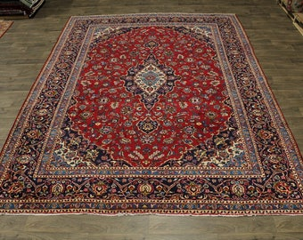 Traditional S Antique Handmade Red Kashan Persian Area Rug Oriental Carpet 10X13