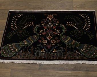 Overwhelming Unusual Birds Design Kashan Persian Rug Oriental Area Carpet 2X3