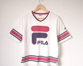 Vintage 90s Fila Big Logo Spell Out V Neck Shirt Fila Giant Logo Streetwear Hip Hop Clothing