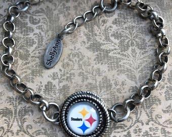 Pittsburgh Steelers team bracelet, antique silver, 12mm cabochon.
