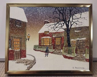 School house winter scene oil print by H. Hargrove in USA in mid-1980s