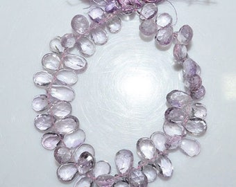 """50% OFF Natural Pink Amethyst Faceted Pear Shape Beads - Pink Amethyst Pear Shape Briolette , 9x6.5 - 12x8 mm , 8"""" , BL1489"""