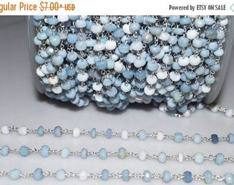50% OFF Beautiful Denim Opal Rosary Beaded Chain-Denim Opal Silver Wire Wrapped Chain , 4.50 mm - RB5099