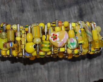 yellow safety pin bracelet
