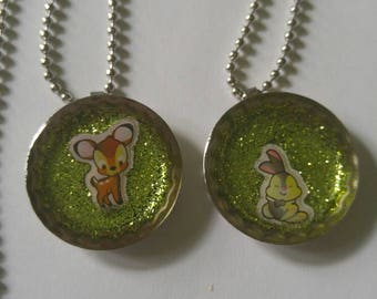 Bambi and Thumper Resin Bottle Cap Necklaces
