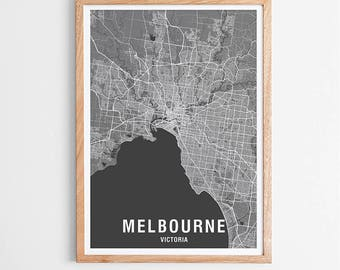 Melbourne City Map Print Various Colours - Two-tone / Victoria / Australia / City Print / Australian Maps / Giclee Print / Poster