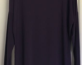 Vintage Norma Kamali Timeless purple raglan long sleeve boat neck pullover tunic top with attached cape like back panel