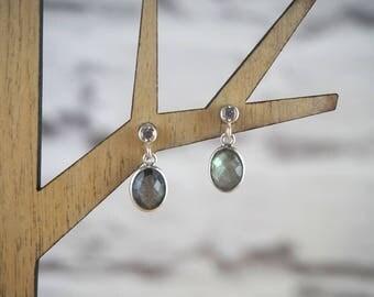 Labradorite Earrings, Gemstone Drop Earrings, Labradorite Jewelry, Spectrolite Earrings, Gemstone Earrings, Delicate Earrings