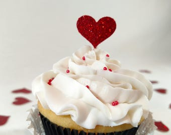 Glitter heart cupcake topper red heart cupcake topper