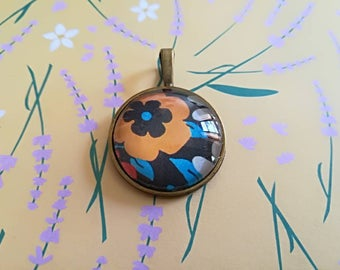 Orange Flower Cabochon glass pendant with print