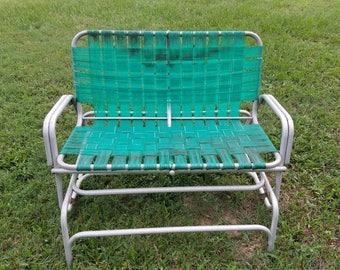 Vintage Aluminium Green Webbed Loveseat Glider / Lawn Patio Glider