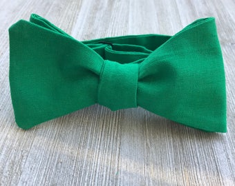 The Campbell Bow-Tie | Linen Green, Father Son, Matching Bow Ties, HANDMADE CUSTOM ORDER, Pre-Tie or Self-Tie | Mens, Boys, Toddler or Baby