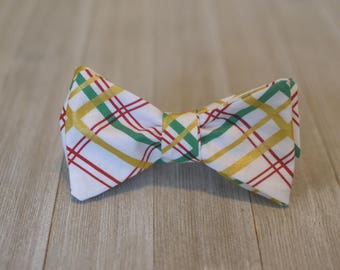 The Mardi Gras Bow Tie | Plaid Father Son, Matching Bow Tie HANDMADE CUSTOM ORDER, Pre-Tie or Self-Tie | Mens, Boys, Toddler or Baby