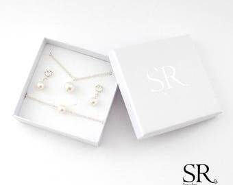 Brautschmuck armband perlen Brautschmuck Schmuckset schlicht zart Perle Perlen Hochzeit