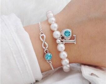 Beaded bracelet initial bracelet personalized letter jewelry Christmas sister bracelet gift bracelet with letter partner bracelet