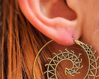 Solid Brass, Spiral, Ethnic ,Boho ,Tribal Earrings