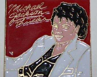 Vintage Michael Jackson Thriller Enamel Square Pinback button pin hat lapel