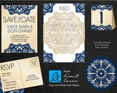 Laser Cut Doily Band Invitation - custom design, lace, die cut, rsvp, metallic, envelope - No Limit Laser / Arkansas Graphics