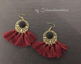 Earrings Tassels Red