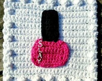 Crochet Nail Polish Applique Granny Square PATTERN: Like a BOSS Blanket Series pdf instant digital download