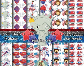4th of July Digital Paper, Fourth of July Digital Paper, Patriotic Digital Paper, Patriotic Paper, Independence Day, Digital Paper Commercia