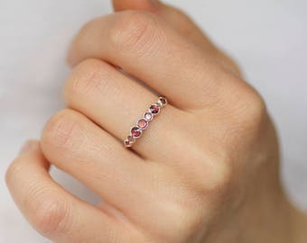 Pink Tourmaline Wedding Band. Tourmaline Ring. Tourmaline Stacking Ring. Faceted Tourmaline Ring. Pink Tourmaline Band Ring.