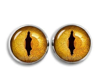 Lizard Eyes Stud Earrings Snake Eyes Earrings 12mm Dragon eyes Jewelry Yellow Eyes Cosplay Fandom